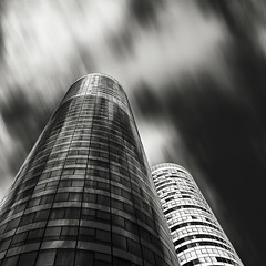 Twins in the storm (Frederic-JG) Tags: sky paris france building tower art architecture digital skyscraper blackwhite ladefense octobre jeanpaulviguier 2011 coeurdefense immeubledebureau fredericjg fredericblanque wwwfredericjgcom