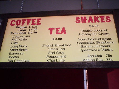 Nic's Shak Drinks Menu