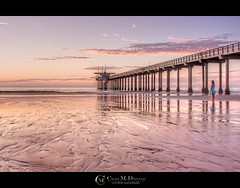 Alone in Teal (Chad McDonald) Tags: ocean california ca sunset beach skyline clouds canon reflections puddle evening pier interesting sand waves dress sandiego chad teal salt lajolla bridesmaid lajollashores shores hdr mcdonald ucsd scripps scrippspier chadmcdonald