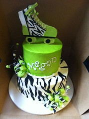 Roller skate Birthday Cake!! (Cakes Infinity (Jessica)) Tags: girly limegreen bow zebra rollerskate curlywires
