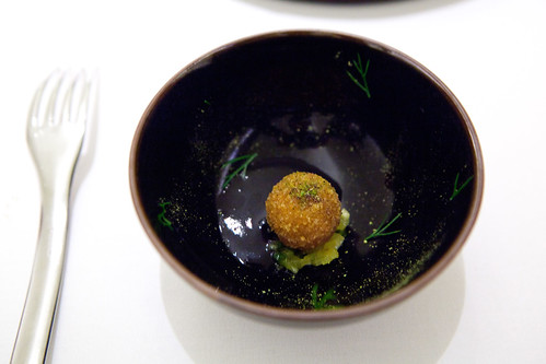Foie gras croquette, pineapple-ancho pepper chutney, black bean velouté (Part of 7th Course: Sunchoke)