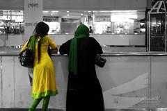 Contrast (Russell John) Tags: ladies girls green yellow 50mm women dhaka bangladesh burqa selectivecolorization orna selectivecolourisation kameez bashundharacity 450d russelljohn