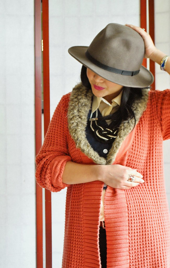 Fall Outfit - Coral Faux Fur Oversized Sweater Coat - Wide Brimmed Hat - Navy Cropped Cardigan - Braided Rope Necklace