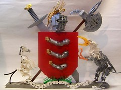 Lego Coat of Arms V2 (monsterbrick) Tags: heraldry coatofarms lego helmet armor sword shield unicorn armstrong griffin plume moc battleaxe monsterbrick