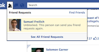 Unblocked.  This person can send you friend requests again.