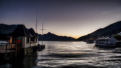 Twilight on the lake (Tim Bow Photography) Tags: sunset newzealand sky lake signs mountains color colour water sign landscape landscapes boat ship otago queenstown british welsh region nightfall lakewakatipu passionate svenska evenin cecilpeak timboss81 timbowphotography