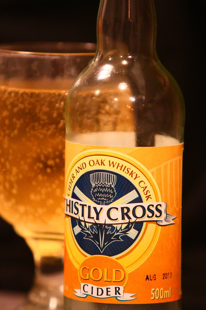 Pic of some thistly cross whisky cask matured cider.