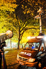 FOX12 van with reporter, microwave transmitter, and mast (Igal Koshevoy) Tags: leaves protest fallfoliage newsvan fox12 microwavetransmitter occupyportland occupypdx occupyoregon
