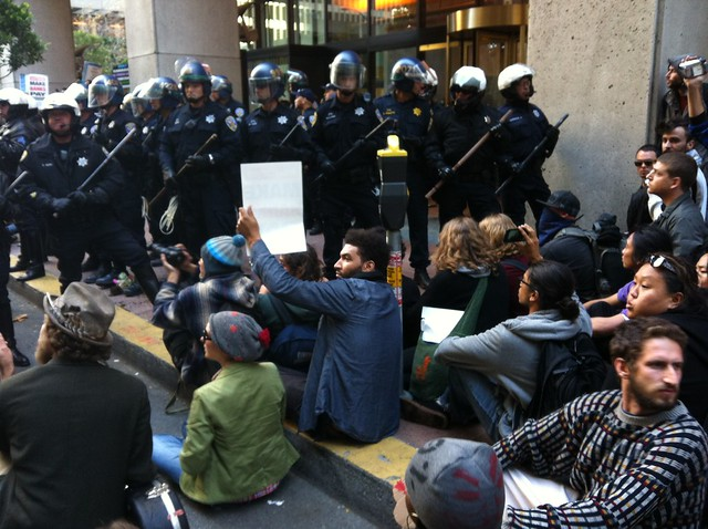 #occupycal sitting down outside #BofA @sfpd line #occupysf #ows