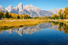 Schwabacher Landing (bhophotos) Tags: travel autumn trees usa mountains reflection film nature water river landscape geotagged golden nikon superia f100 snakeriver fujifilm wyoming aspen tetons jacksonhole reala grandtetonnationalpark fujicolor gtnp schwabacherlanding 2485mmf284d jacksonholevalley