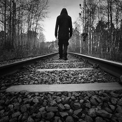 Railway Walks.. (Peter Levi) Tags: blackandwhite bw man blancoynegro monochrome mono sweden stockholm stones tracks railway gravel blackwhitephotos absoluteblackandwhite canon5dmkii absolutegoldenmasterpiece artistoftheyearlevel2