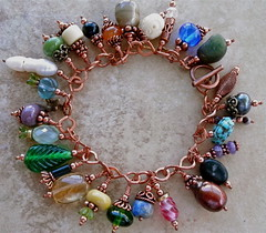 Charm Bracelet (Out Of Time Designs) Tags: antique copper gems charmbracelet lampworked