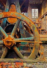 refrigeration generator wheel (Jonathon Much) Tags: old windows urban brown detail green abandoned industry broken rotting beautiful wheel yellow metal architecture rural canon vintage illinois rust industrial technology shadows mechanical geometry decay circles patterns painted exploring urbandecay debris stlouis rusty dirty historic east textures indoors generator forgotten urbanexploration american generators rusted rusting aged rotten discarded peelingpaint decomposition aging armour destroyed wrecked cracked decayed decaying 2012 urbex pinstriping deteriorating refrigeration tiltshift windowpanes nationalcity decompossing canon7d armourmeatprocessingplant