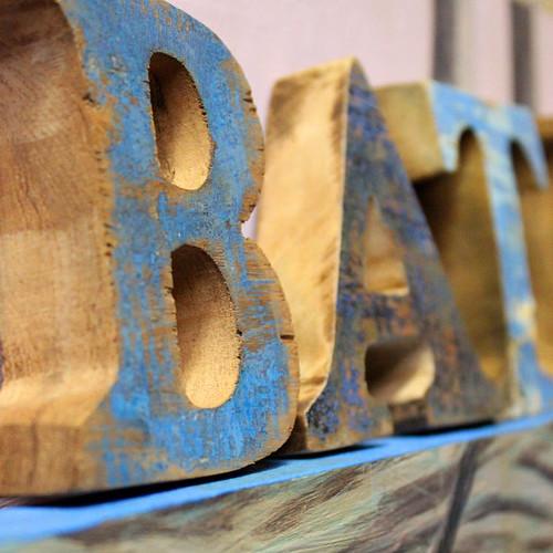 BATH SIGN Beach Decor Vintage Nautical Wooden Letters set