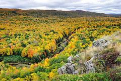 """Rivers Journey""  Carp River,  Michigan's Porcupine Mountains Wilderness State Park (Michigan Nut) Tags: statepark autumn cliff usa mountain color fall leaves clouds america john river geotagged outdoors midwest stream tour michigan peak upperpeninsula overlook mccormick sugarmaple porcupinemountains"