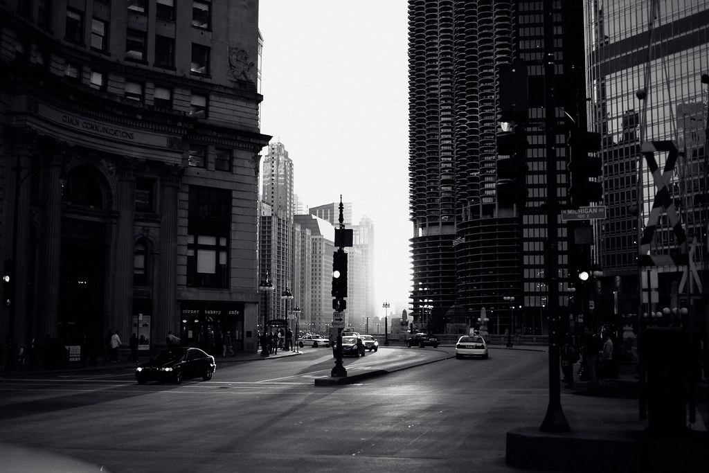 chicago in black and white photo