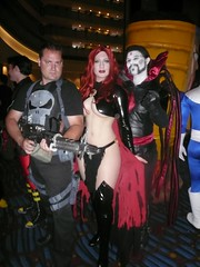 Punisher, Goblin Queen, Mister Sinister (BelleChere) Tags: atlanta costume geek cosplay harrypotter convention marvel dragoncon siriusblack punisher madelynepryor goblinqueen yuleball mistersinister bellatrixlestrange