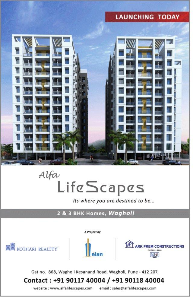 Alfa Life Scapes, 2 BHK & 3 BHK Flats, on Wagholi Kesnand Road, Wagholi, Pune 412 207