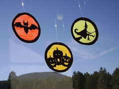Halloween faux stained glass ornaments