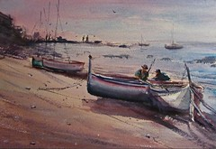 Evening Catch by JKendall (bvjittison) Tags: sunset watercolor painting landscape boats marine fishermen