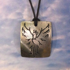 Phoenix Pendant - Stainless Steel (Tigers and Dragons) Tags: bird phoenix metal fire necklace handmade steel harry potter jewelry jewellery flame firebird rebirth eco etch pendant renewal stainless mythical tigersanddragons