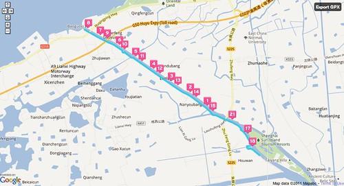 Today's half marathon run in Google Maps