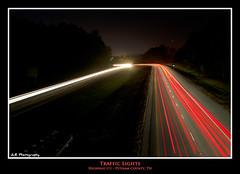 Traffic Lights (J.L. Ramsaur Photography) Tags: longexposure nightphotography light trafficlights lights nikon tennessee headlights lighttrails roadside overhead taillights highway111 2011 vehiclelights cookevilletn d5000 remotetrigger algoodtn jlrphotography putnamcountytennessee