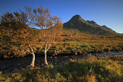 Ben Loyal. (Gordie Broon.) Tags: autumn trees mountain fall nature tongue landscape geotagged photography scotland scenery stream alba scenic bluesky escocia burn sutherland birchtrees corbett schottland ecosse scottishhighlands benloyal sutherlandshire northernscotland canoneos7d ribigill gordiebroon cunside alltlonmalmsgaig
