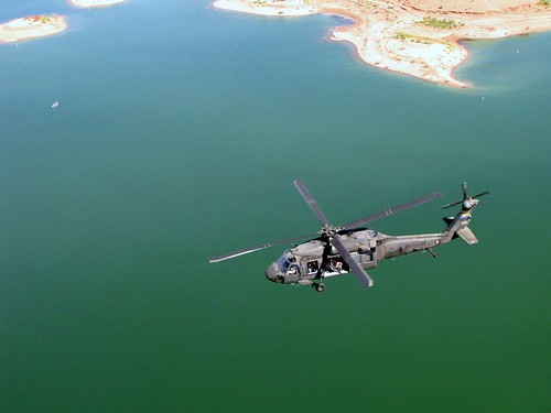 US Army Blackhawk flying over lake near Phoeniz, Arizona by CharlesRay2010