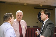 Rep. Betts and Sen. Welch discuss CT's fiscal situation with Mayor Festa during a town hall meeting in Plymouth