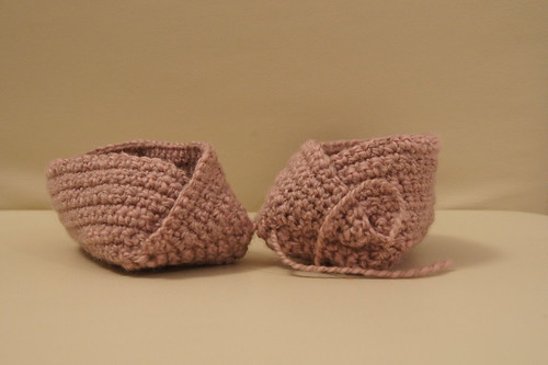 Booties made with 2 ply handspun merino yarn