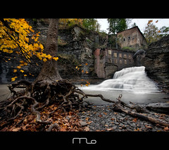 Wells Falls In The Fall (Mike Orso) Tags: ny newyork abandoned canon landscape waterfall roots ithaca powerplant fingerlakes sixmilecreek sycamoretree photomo wellsfalls businessmanslunchfalls mikeorso