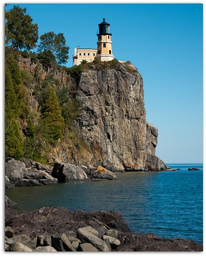 Split Rock Lighthouse At Water Level