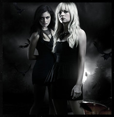 Happy Halloween: Cassie & Faye [The Secret Circle] (~Stranger) Tags: show black halloween night dark circle pumpkin happy tv brittany power witch secret bad cassie teen