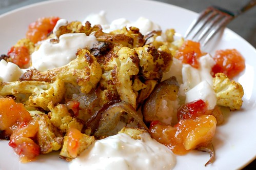Roasted, curried cauliflower with rice, raita and chutney by Eve Fox, Garden of Eating blog, copyright 2011