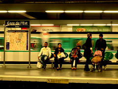 Every person has a story (HoopjeEllende) Tags: people paris station subway waiting gare metro platform garedelest transportation publictransport ratp