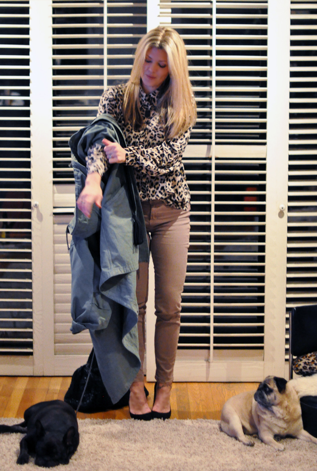 j brand city jeans-  taupe pants  and leopard print blouse