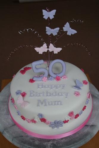 Flowers Butterflies Birthday Cake