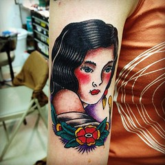 Girl head tattoo by KeelHauled Mike (KeelHauled Mike) Tags: tattoo tattooartist traditionaltattoo dentonmaryland blackanchortattoo keelhauledmike traditionalamericantattooparlor wwwkeelhauledmikecom oattan