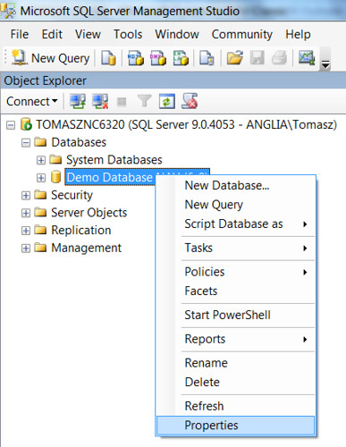 Database Size - SQL Database Properties