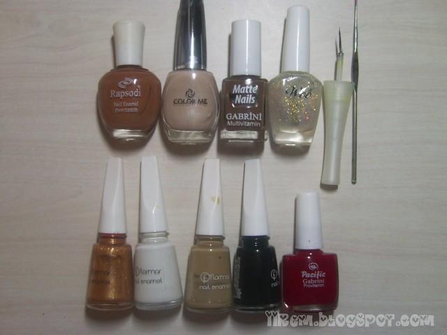 Soldan sağa ; Rapsodi , Color Me , Gabrini Matte Nails 396 , Woo 559,Flormar 386 - 310 - 344 - 313 , Pacific Gabrini 31