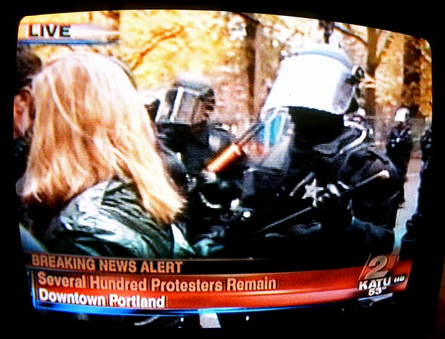 Occupy Portland: riot police in downtown Portland, OR, 11/13/11 about 4:00 PM on KATU