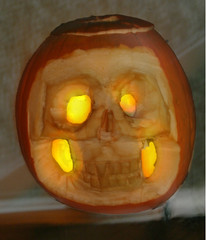 Glowing Skull Pumpkin
