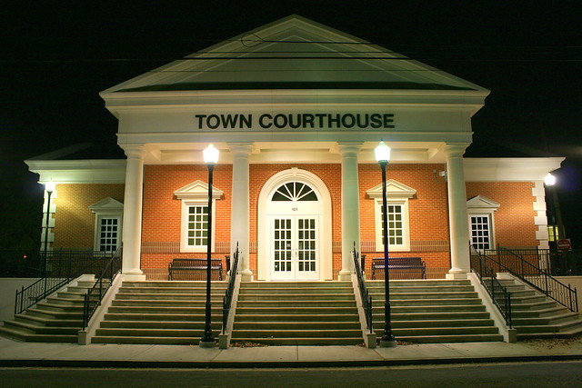 Collierville, TN Town Courthouse at Night