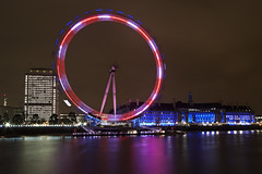 Two Tone Eye (Daniel Borg) Tags: uk longexposure pink red england white reflection london eye thames river unitedkingdom londoneye shard embankment canon1022 cityofwestminster canon450d r|1
