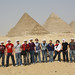 Alfred State's first study abroad group - students standing in front of the pyramids at Giza, Egypt - March, 2009