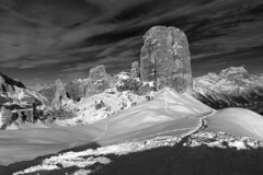 "Cortina ""Cinque Torri"" - BW (tjshot) Tags: travel blue trees winter light sky bw italy panorama white mountain holiday snow black ski mountains cold cortina nature clouds contrast digital trekking trek season outdoors lights woods holidays europe italia skies cloudy outdoor pano altitude air country sigma hike resort pines pure dolomites sensor foveon x3 hugin dp2 dampezzo dp2x"