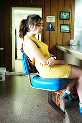(Madeline K.) Tags: blue yellow shoe chair dress watch bowlingalley