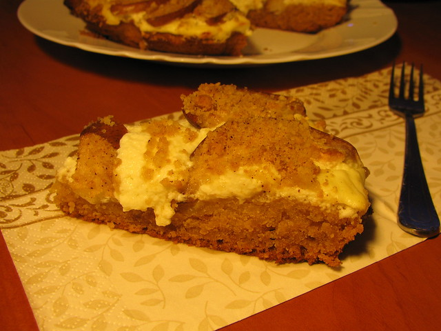 Honey cake with cottage cheese and pear