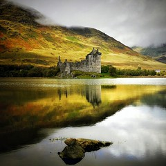 Castle of Romance (kenny barker) Tags: uk autumn reflection castle art fall water fog landscape scotland october day contemporary loch society lochawe kilchurncastle alwaysexc panasonicg1